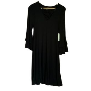 Black dress bell sleeves NWT L
